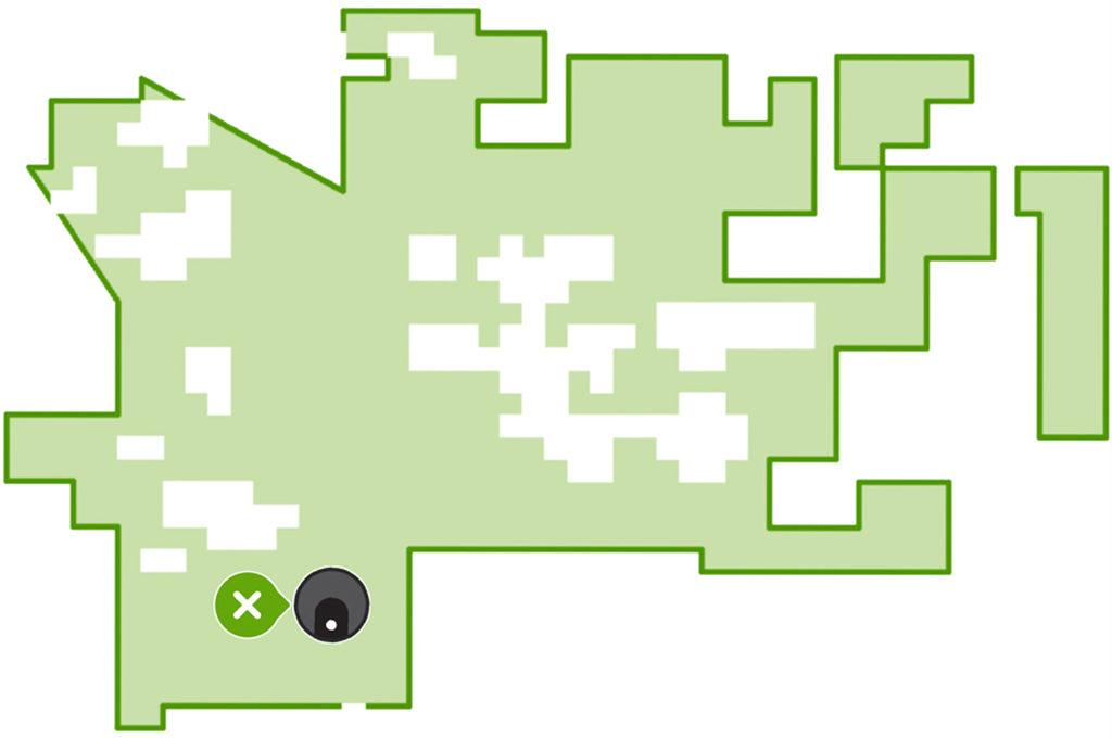 Übersichtskarte in der iRobot App mit Status und Position des Roboters
