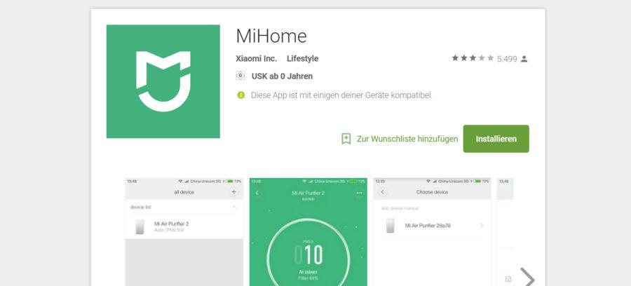 Mi-Home Anwendung im Play Store