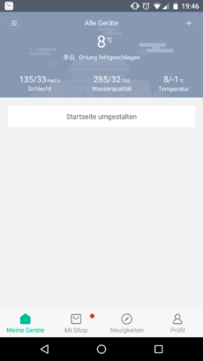 Startseite der Mi Home App