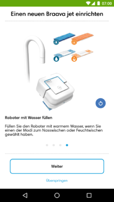 Hinweis zum Befüllen des Roboters