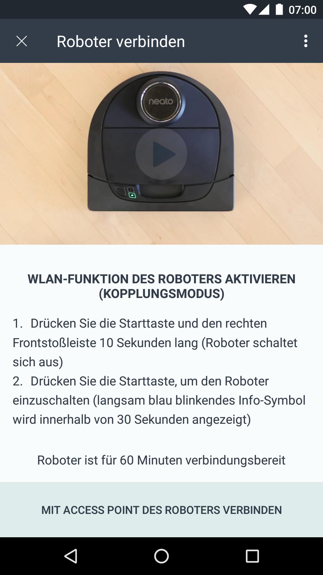 App-Steuerung der Neato BotVac Connected Staubsaugerroboter