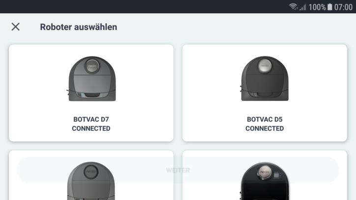 Auswahl des Botvac D5 Roboters