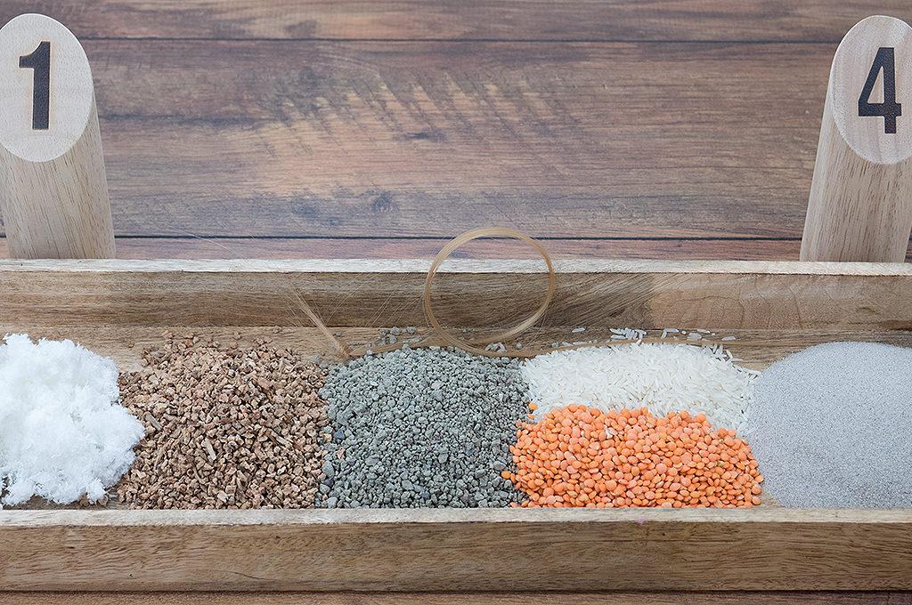 Testsubstrate Cellulose, Kork, Katzensteu, Reis, Linsen, feiner Sand