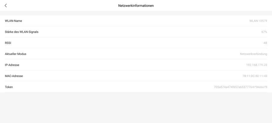 Netzwerkinformationen inkl. Token